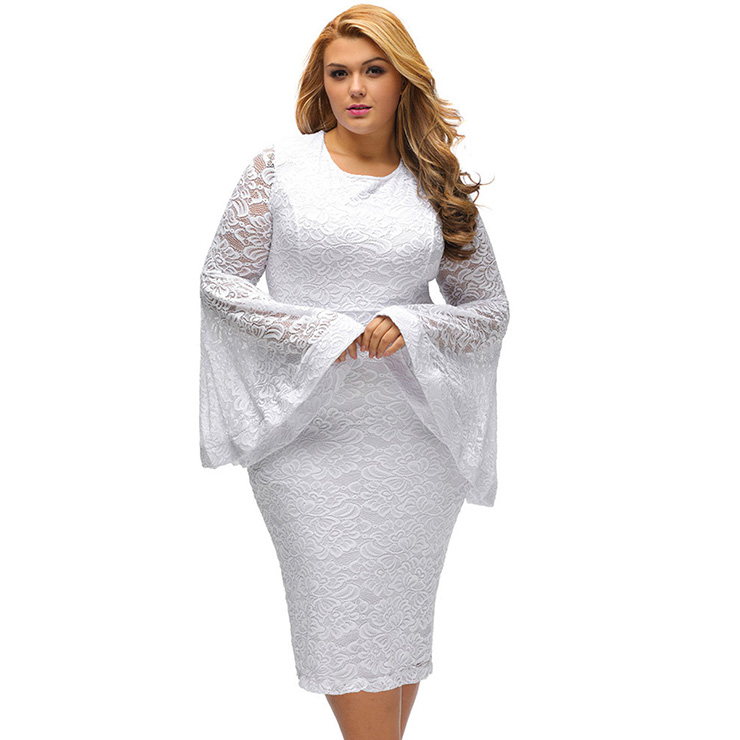 Plus Size Vintage Style White Lace Long Sleeve Bodycon Dress