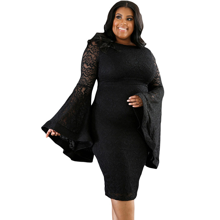 Plus Size Vintage Style Black Lace Long Sleeve Bodycon Dress