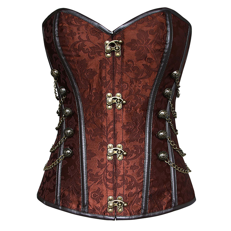 7b4998e1af9 Alba Steampunk Overbust Brown corset With chain M687399